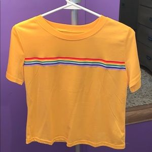 Gold yellow rainbow crop top